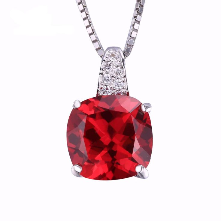 4.99ct Pigeon Blood Red Ruby Pendant  Necklace, Pure Solid 925 Sterling Silver Square Cut Engagement/Wedding  Jewelry from VS Crazy Deals