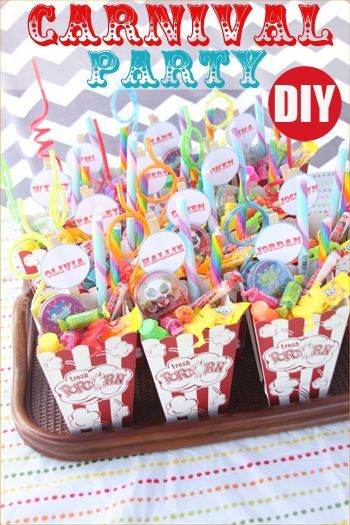 Carnival Party.  Creative food, goodies, party games and party favors.  Great party theme for a girl or boy birthday.  Great games and activities for a school carnival or class party.