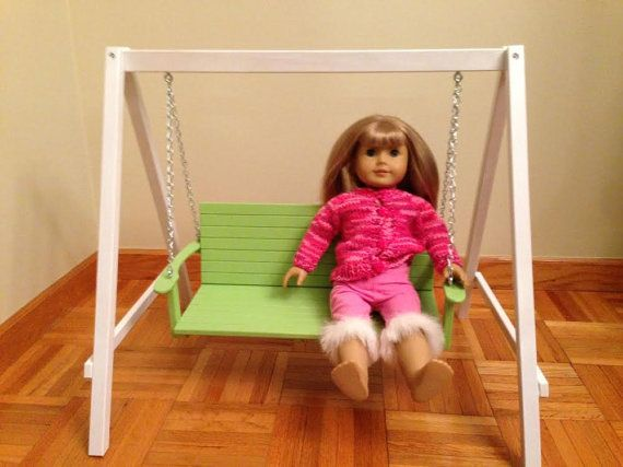 "Garden Swing American Girl Doll Hardwood Handcrafted 18"" Doll Furniture"