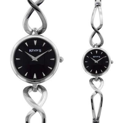 Reloj para Dama, tablero redondo, negro, index, analogo, pulso metalico metalico