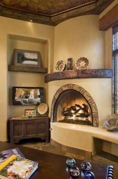 Office space with Southwest Kiva fireplace