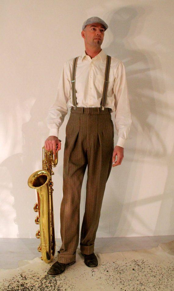 1930's 1940's mens pants high waisted slacks made to measure swing trousers brown pinstripe bespoke lindy hop pants