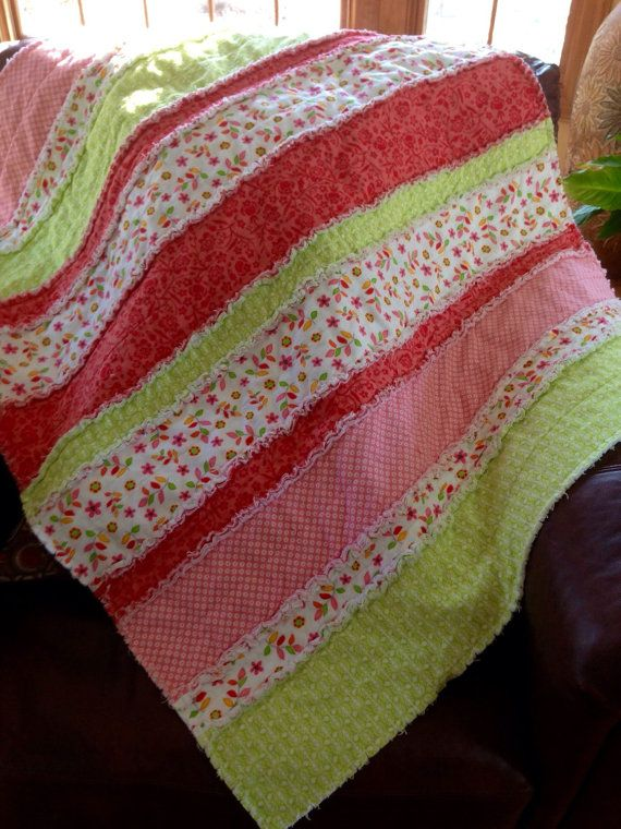 Flannel Rag blanket Quilt, Bright Green Yellow Coral, Floral, Nursery Crib Bedding