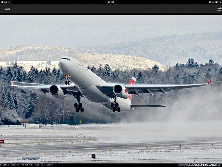 A Swiss A330-300 take off in Zurich.