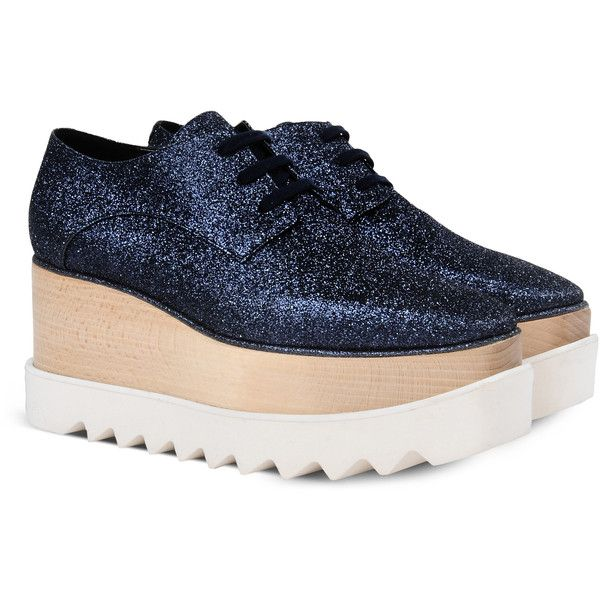 Stella Mccartney Deep Blue Elyse Shoes found on Polyvore featuring shoes, chunky shoes, glitter oxford shoes, glitter oxfords, wooden platform shoes and glitter wedge shoes