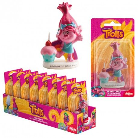 DISPLAY 8 VELAS TROLLS POPPY 3D 7,5CM