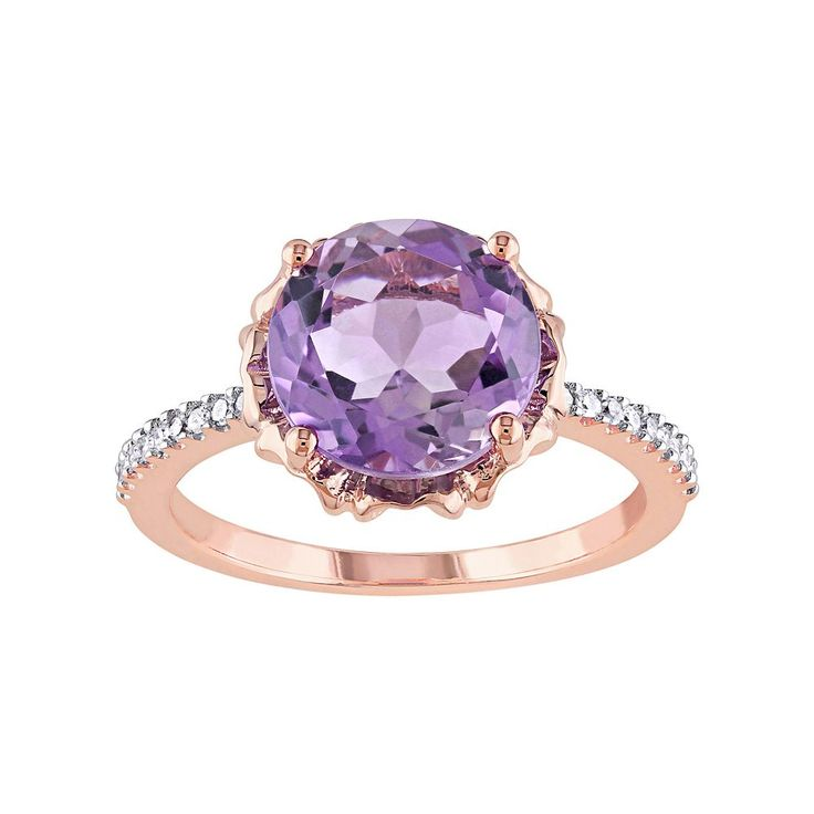 10k Rose Gold Amethyst & 1/10 Carat T.W. Diamond Engagement Ring, Women's, Size: 9, Purple