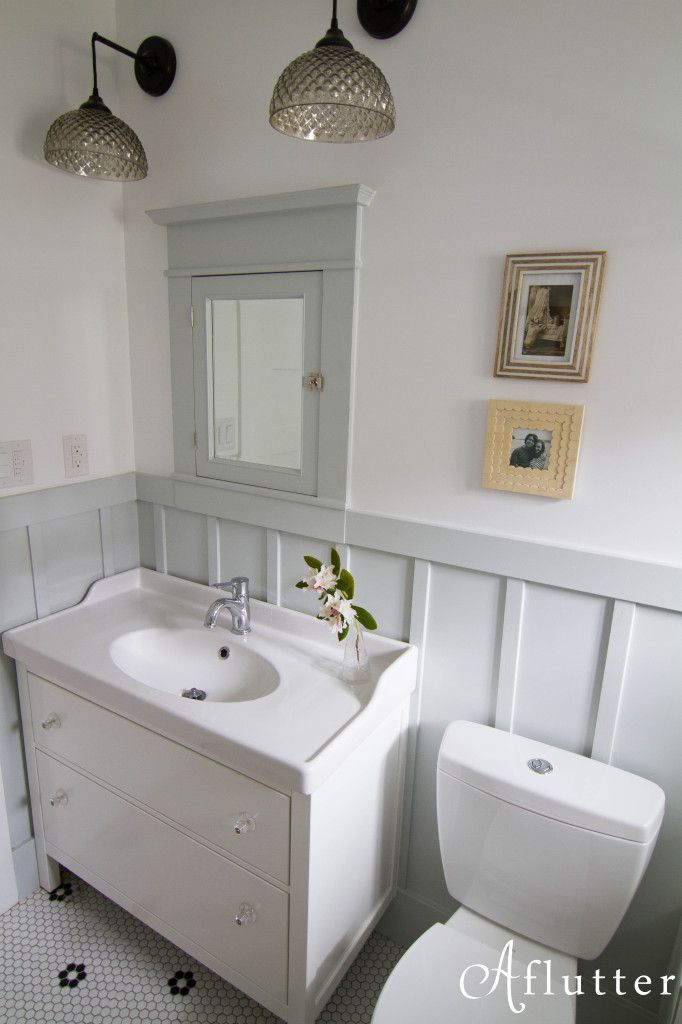 "Ballard Bathroom Reveal, Revelations and Resources •Upper Walls/Ceiling –  Benjamin Moore ""Super White"" •Board and Batten - Glidden 'Barely Jade"""