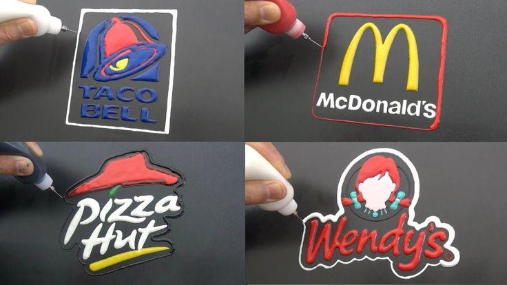 Fast food brand logos pancake art taco bell wendys