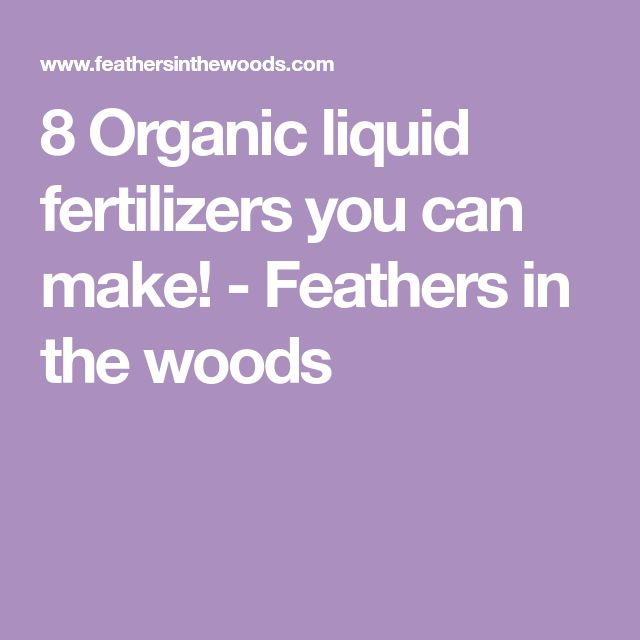 8 Organic liquid fertilizers you can make! - Feathers in the woods