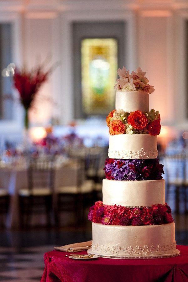 Cake with jewel tone flowers | Jewel Tone Wedding Theme { 17 ideas to Use Jewel Tones } http://www.itakeyou.co.uk/wedding/jewel-tone-wedding-theme #jeweltone #wedding #fallwedding: