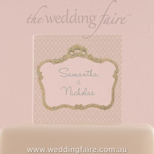 Vintage Frame Personalised Clear Acrylic Block Cake Topper - The Wedding Faire