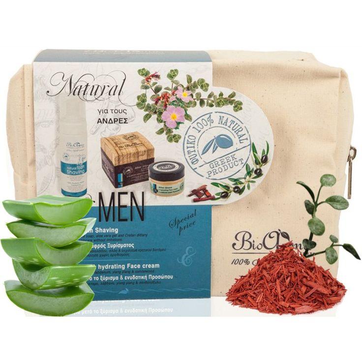 Νεσεσέρ για Άντρες  € 21.90 Το πακέτο περιέχει: 1. 100% Φυσικός Αφρός Ξυρίσματος 2. Ενυδατική κρέμα προσώπου για μετά το ξύρισμα