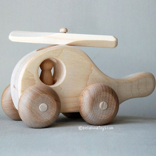 Made of thick pine, this chunky little Wooden Toy Helicopter will delight any child! Made of soft pine and hand sanded to a velvety smooth natural finish that feels soft to touch. Its smooth finish an