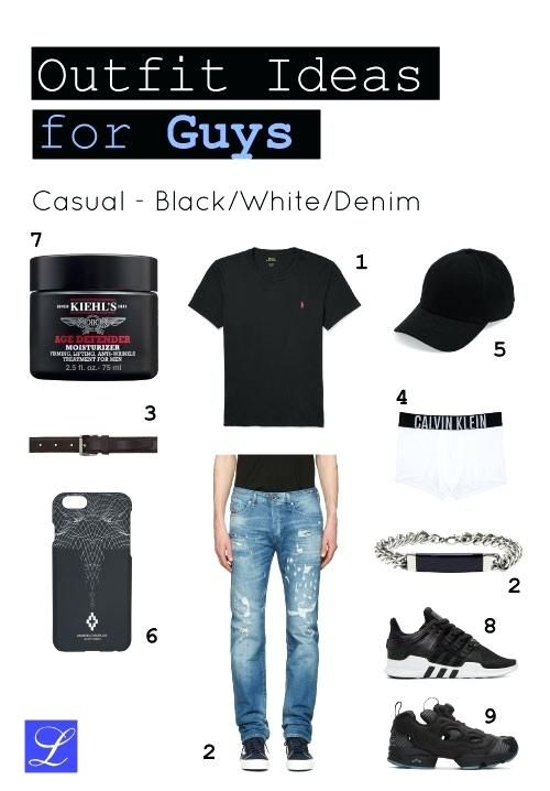Cool back to school outfit idea 1 black white denim casual for guys – School outfits for college pictures