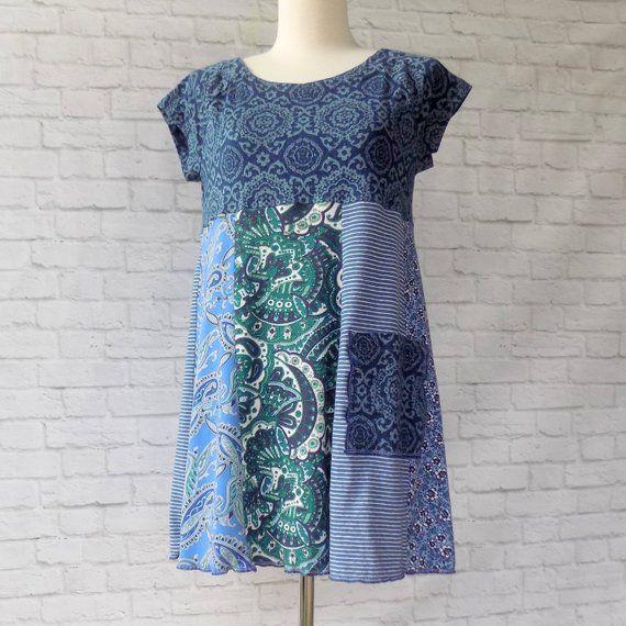 Blue Bohemain Tunic Dress – Upcycled Kleidung für Frauen