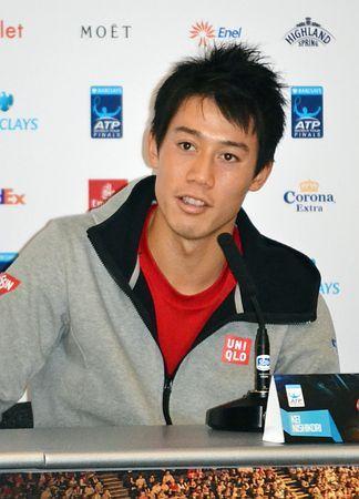 ATPツアー・ファイナルに向けて記者会見で意気込みを語る錦織圭=7日、ロンドン ▼8Nov2014時事通信|「全て勝ち取りたい」=錦織、ファイナルに意欲-男子テニス http://www.jiji.com/jc/zc?k=201411/2014110800113 #Kei_Nishikori