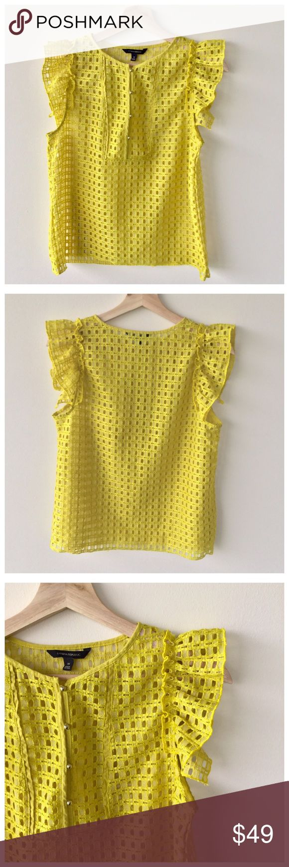 Banana Republic Lemon Yellow Lace Blouse This lemon yellow dyed lace top from Banana Republic is gorgeous! Features: Ruffled, short sleeves. Beautiful gold buttons. Lace material. Round neckline. Light natural wear. Cotton.    cc Banana Republic Tops Blouses
