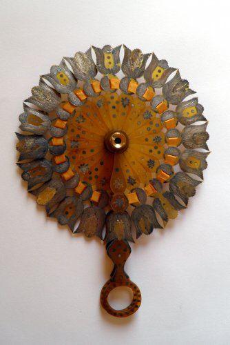 Eventail cocarde à système de lorgnette, vers 1815
