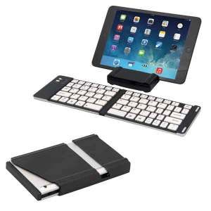 PORT-A-NOTE MINI FOLDING BLUETOOTH® WIRELESS KEYBOARD. • Aluminum Alloy cover and ABS • Folding Bluetooth® keyboard • Compatible with iOS/Android/Windows tablets and smartphones • Plastic protective carrying case easily turns into a stand to hold your device • Lightweight keyboard • On/off switch • Easily connects to your device • Up to 10 metre operating distance • Includes micro USB charging cable • Rechargeable lithium batteries via standard USB port