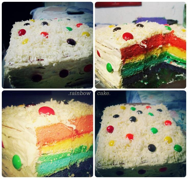 rainbow cake buatan sendiriii~~