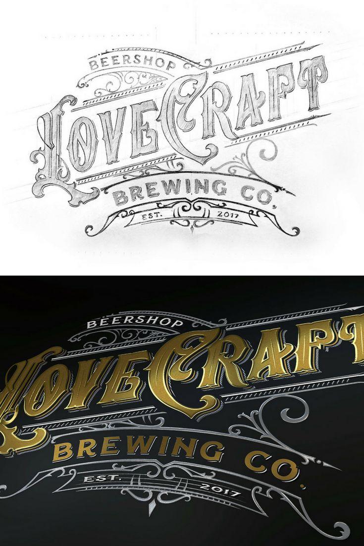 Lovecraft Brewing modern vintage logo design.