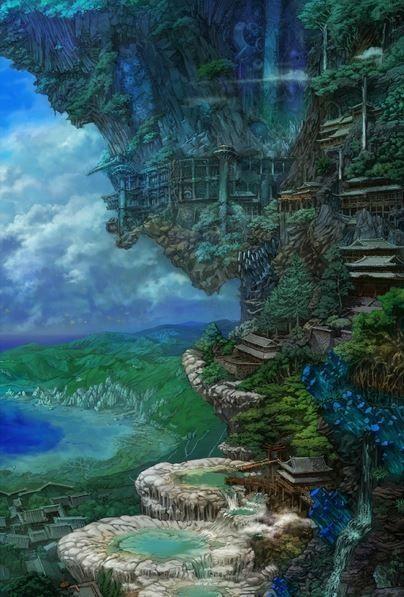 ____ ORIGINAL VERSION  ____    the hanging temple ,anime ,landscape ,manga ,art ,fantasy ,temple