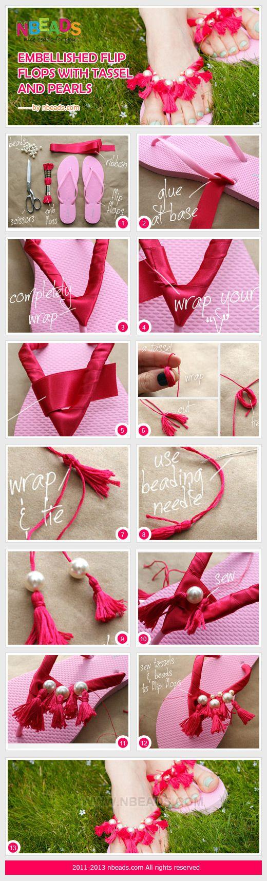 Faça Você Mesmo - Customização de chinelos usando linhas, fitas e pérolas