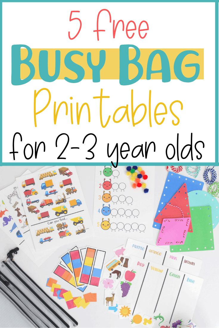 5 Free Busy Bag Printable Activities for Toddlers . Educational worksheets for toddlers. Printable activities for 2-3 year olds