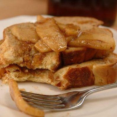 Healthy cinnamon apple french toast.