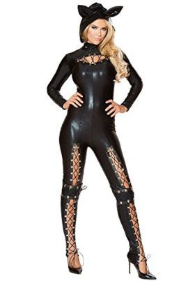 Women Adult Party Fancy Sexy Frisky Cat Cosplay Halloween Costume Jumpsuit  Lace-up Costume