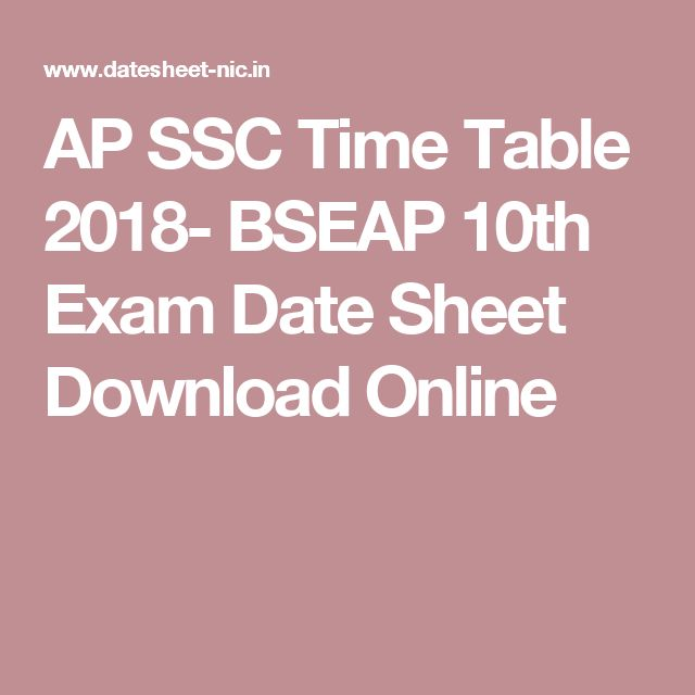 AP SSC Time Table 2018- BSEAP 10th Exam Date Sheet Download Online