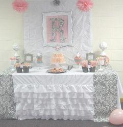 "Pink + Grey Damask Baby Shower / Baby Shower/Sip & See ""Pink + Gray Damask Baby Shower"" | Catch My Party"