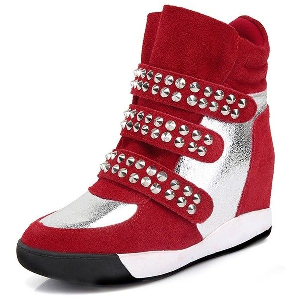 Women's High Top Velcro Womens Hidden Wedge Sneaker Shoes with Rivet ($46) ❤ liked on Polyvore featuring shoes, sneakers, hi top velcro sneakers, wide shoes, wedged sneakers, wide width wedge sneakers and wide sneakers