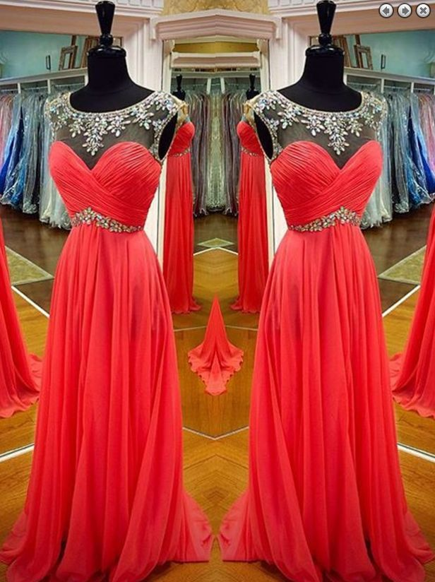 red prom dress,long Prom Dress,beading prom dress,chiffon evening dress,charming evening dress,BD2960