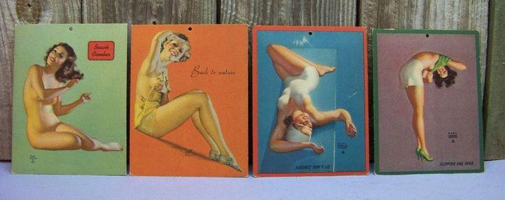 4 Vintage Art Deco Earl Moran PinUp Girl Blotter Cards CALENDAR #PinupCouture