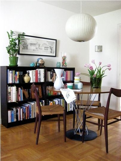 mia2_rect540: Dining Rooms, Rooms Bookshelves, Heiman Dining, Large Rooms, Decor Inspiration, Dining Nooks, Fine Dining, Bubbles Lamps, Art Deco