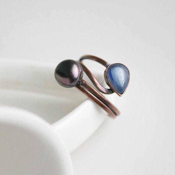 Kyanite Blue Ring Blue Teardrop Adjustable Ring by StudioAngel