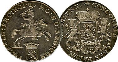 Netherlands 7, 14 Gulden, 1/2, 1, 2 Ducaton (Silver Rider)  1659 to 1793