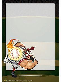 Papier à lettre à imprimer avec une illustration d'un joueur de baseball très énervé