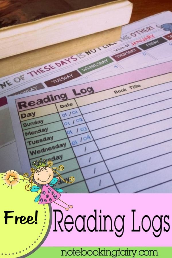 Free Readings Logs from The Notebooking Fairy