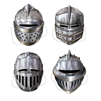 Medieval Knight Cardboard Party Face Masks, Pack of 4