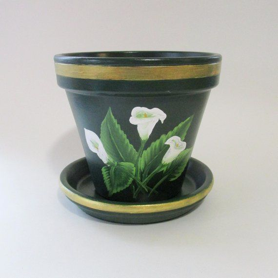 Calla Lily Flower Pot Painted Forest Green Terra Cotta Planter With Hand Painted Gold Trim White Lilies Clay Plant Holder Flower Pots Painted Flower Pots Hand Painted Planter