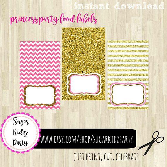 princess birthday, princess party, princess printable, food label, girls birthday party, girls party label, kids birthday, princess label