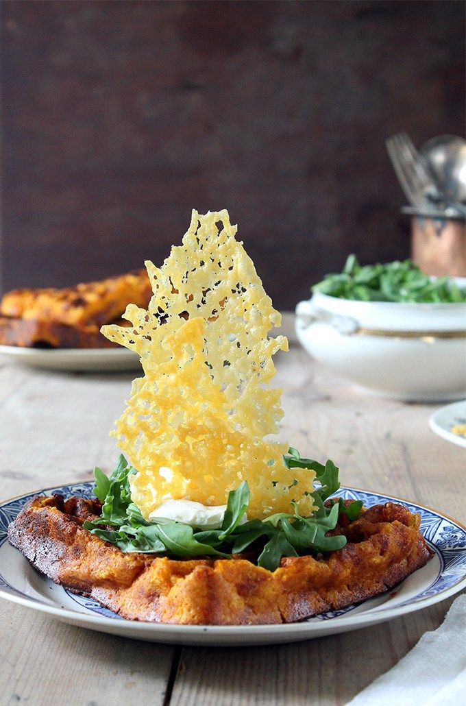 Cheddar and Jalapeno Sweet Potato Waffles with Cheddar Cheese Shards   Veggie Desserts Blog  These cheesy sweet potato waffles are a perfect lunch, brunch or dinner. They have a subtly fiery kick from the jalapenos to compliment the sweetness of the sweet potatoes and are topped with a crown of cheddar shards for a showstopping crunch. Vegetarian.