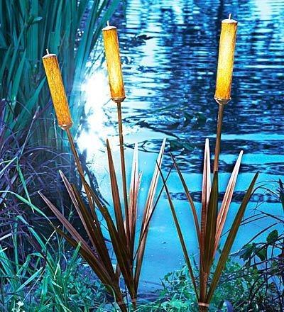 3 Solar Cattail Spike Light Yard Stake Water Garden Pond