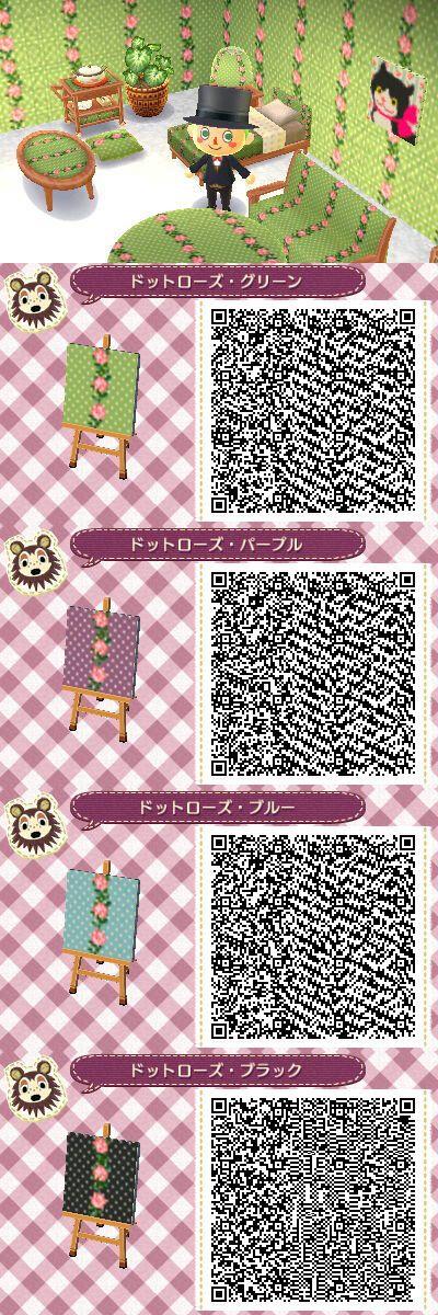 Polkadot floral pattern (wallpaper) ACNL QRs