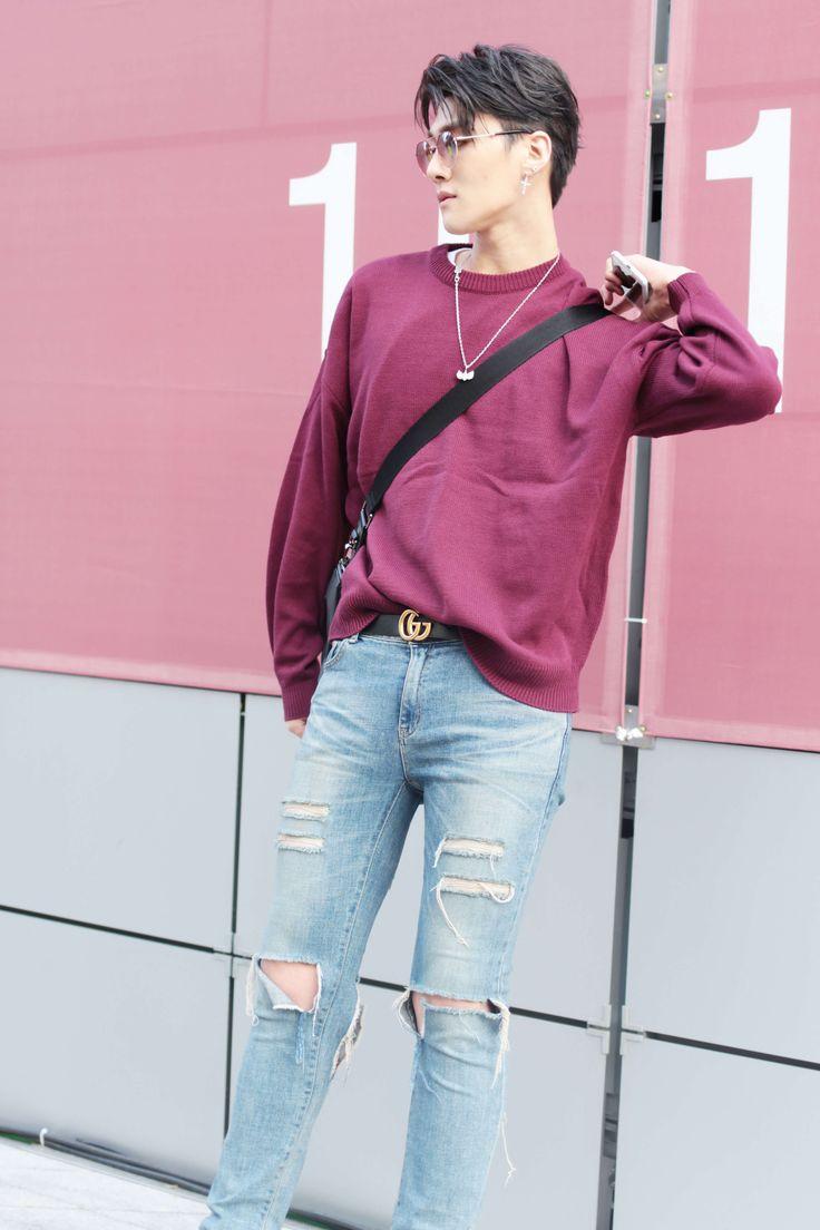 korean model Shin Jaehyuk streetstyle at seoul fashion week ss18