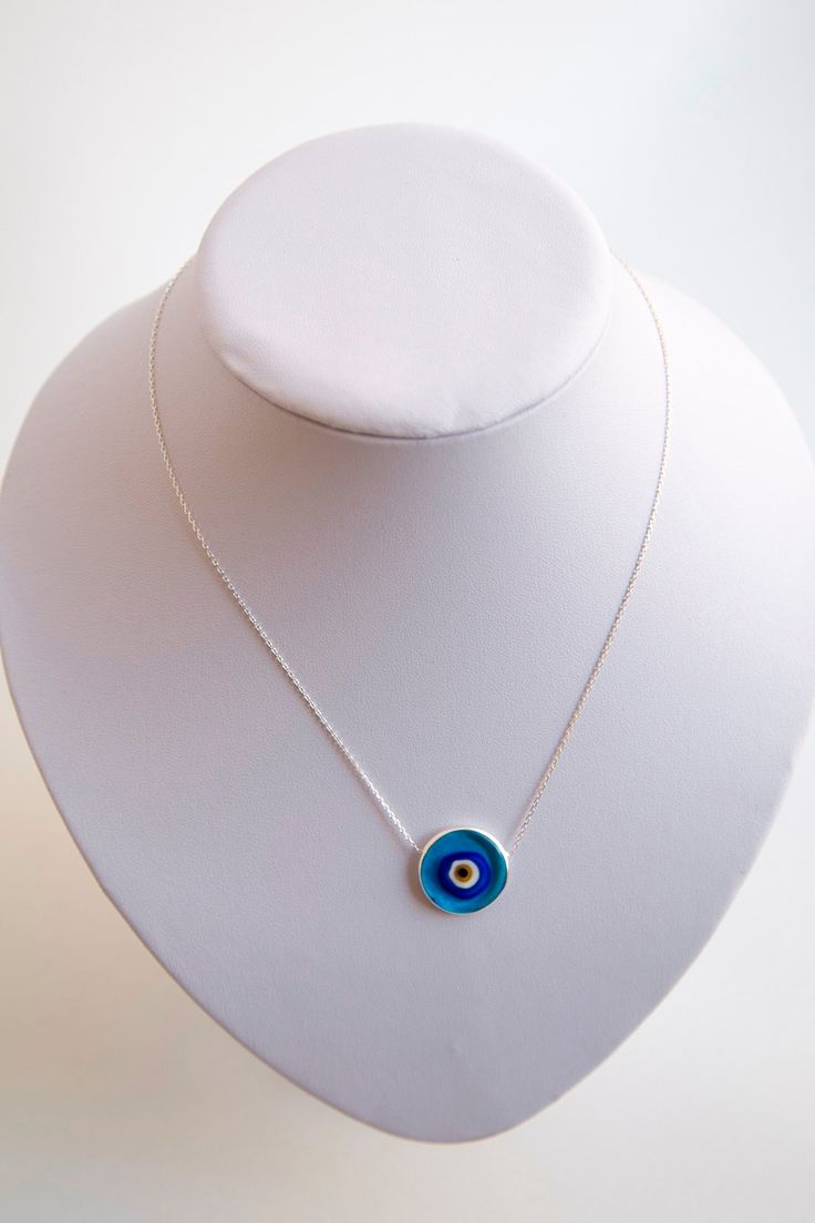 Glass Evil Eye Silver Necklace by defneodemis on Etsy
