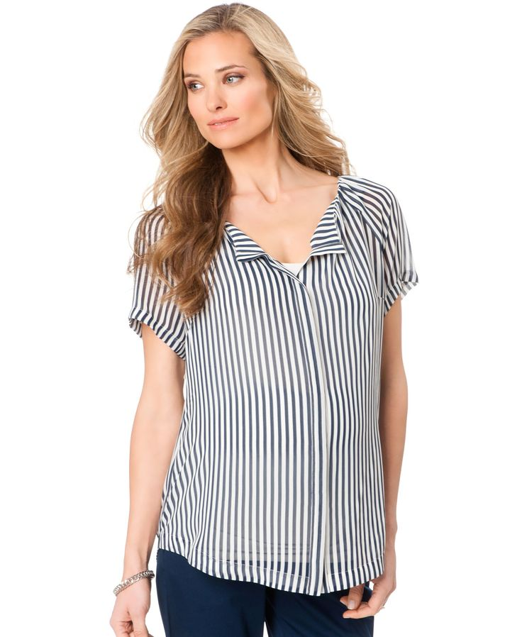 A Pea In The Pod Sheer Striped Maternity Blouse